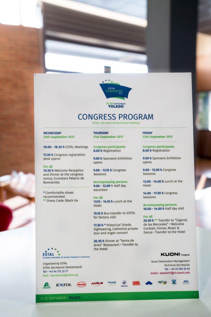 Anverso programa sublimado para asistentes de ESTAL CONGRESS Toledo